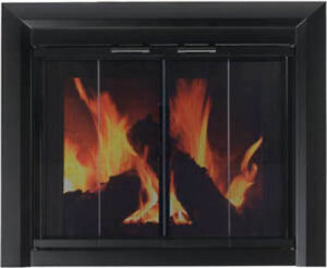 Pleasant Hearth Glass Fireplace Door Clairmont Black Small
