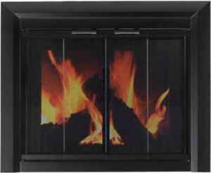 f94862c6f1ada Image is loading Pleasant-Hearth-Glass-Fireplace-Door-Clairmont-Black-Small-