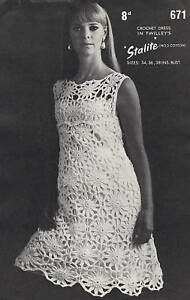 Vintage 60s Lacy Motif  Dress Crochet Pattern
