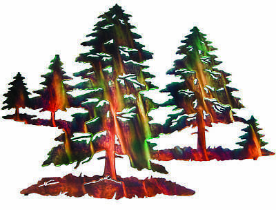 Made In Usa Nature Pine Tree Metal Art Wall Home Decor