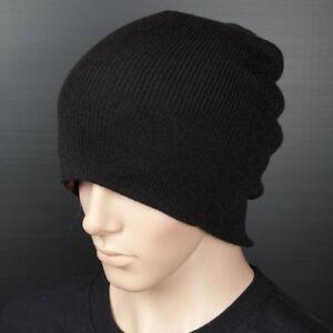 C001-LONG-WINTER-Thick-Beanie-Hat-Cap-Black