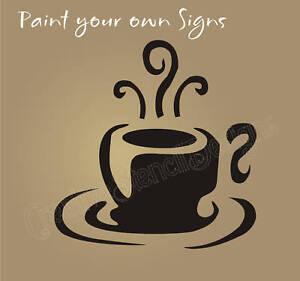 """coffee cup swirl design stencil 12"""" tall espresso latte tea"""