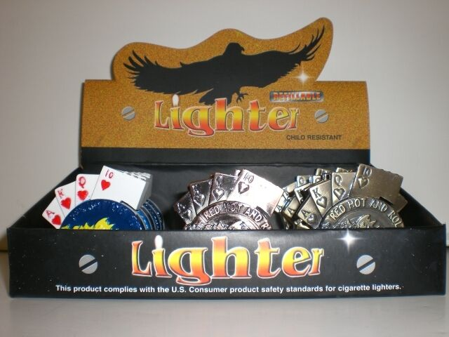 DISPLAY OF 15 GAMBLING LIGHTERS (POKER, DICE, PKR CHIP)