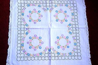 kl. Decke handgewebtes Leinen Blütenmuster 58x58 cm