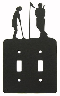 Golf Black Metal Double Light Switch Plate Cover