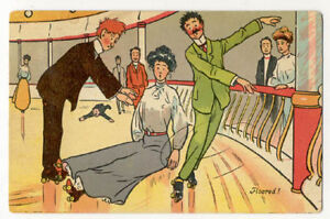 1909 ROLLER SKATING COMICS MATCHING SET OF 3 SKATE POSTCARDS PC5676