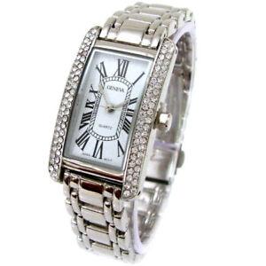 Silver Bracelet Geneva Crystal Bezel Women's Jewelry Watch ...