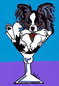 13x19-BLACK-PAPILLON-Martini-Signed-Dog-Pop-Art-PRINTof-Original-Painting-VERN