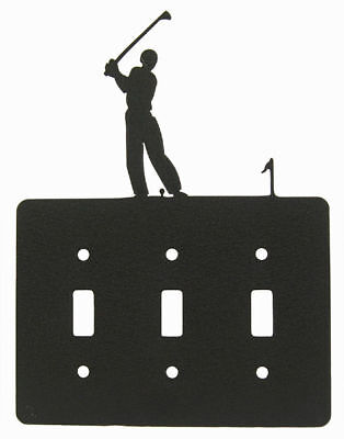 Male Golf Black Metal Triple Light Switch Plate Cover