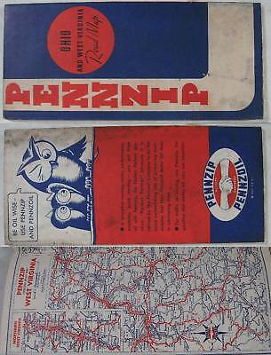 1935~Ohio & West Virginia Road Map~Pennzoil