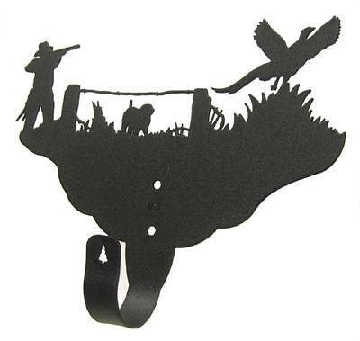 Pheasant Hunt Black Metal Single Wall Hook