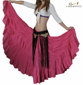 10-YARDS-BELLY-DANCE-TRIBAL-GYPSY-cotton-SKIRT-Pink