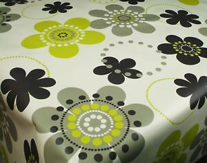 Wipe-Clean-Tablecloth-Oilcloth-Vinyl-PVC-Lime-Blk-Retro