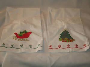 2-Christmas-Dish-Towels-White-with-Sleigh-Christmas-Tree