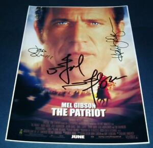 THE-PATRIOT-CASTx3-PP-SIGNED-POSTER-12X8-MEL-GIBSON