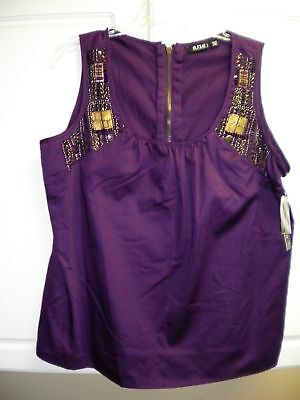 Ana Purple Tank W Embellishments Petite Large