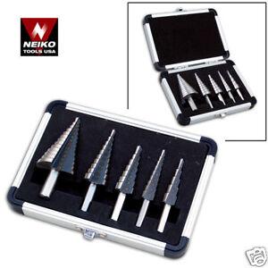5pc-NEIKO-USA-STEP-UNI-DRILL-BIT-SET-METRIC-4mm-35mm