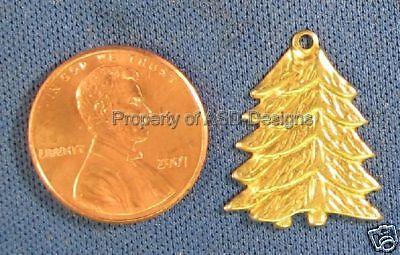 50pc Raw Brass Holiday Christmas X-mas Tree Charms 4838