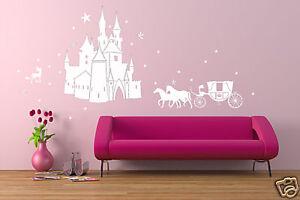 wandtattoo wandtatoo m rchenschloss schloss feen sterne einhorn prinzessin 327 ebay. Black Bedroom Furniture Sets. Home Design Ideas