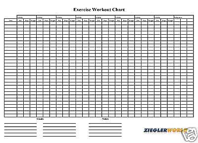 Exercise Work Out Wall Chart -track Your Progress
