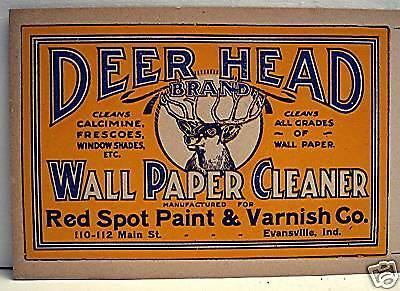 Deer Head Wall Paper Cleaner Label Red Spot Evansville