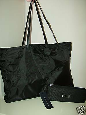 NEW TOMMY HILFIGER SIGNATURE BLACK TOTE GYM BEACH BAG SHOPPER MULTI USE NWT