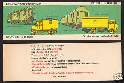 """DDR Sondermarkenheft 9 da """"Posttransporte"""" ungefaltet"""