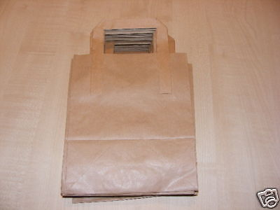 25 BROWN PAPER CARRIER BAGS WITH FLAT HANDLES 7 X 8.5