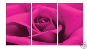 SPLIT-3-PANEL-CANVAS-DEEP-FUCHSIA-PINK-ROSE-FLORAL-ART