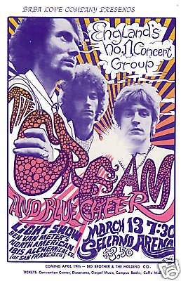 Eric Clapton & Cream at the Selland Arena in  Fresno Ca. Concert Poster 1968