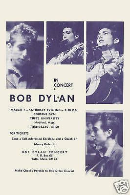 Folk: Bob Dylan  Tufts Uni. Medford Mass Concert Poster Circa 1964