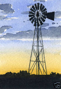 WINDMILL-ACEO-Miniature-Art-Print-on-W-C-Paper-Signed-by-Artist-DJR