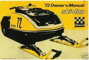1972 BOMBARDIER SKI-DOO BLIZZARD RACING SNOWMOBILE MANUAL COPY