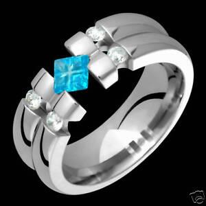 New Mens Titanium Ring Diamond Rings Sky Blue Topaz Wedding Band For Engagement