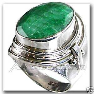 GENUINE-GREEN-EMERALD-HAND-TOOLED-RING-SZ-6-5-SILVER-NF