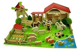 NEW! BIGJIGS 49 PIECE PLAY FARM & ANIMALS SET WOODEN TOY