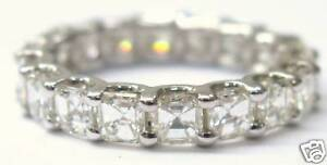 Fine Asscher Cut Diamond Eternity Ring 2.85Ct WG Sz4.5