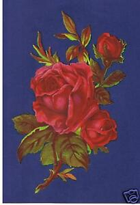 2-RED-ROSES-VICTORIAN-ANTIQUE-SHABBY-CHIC-VINTAGE-FURNITURE-DECALS-TRANSFERS
