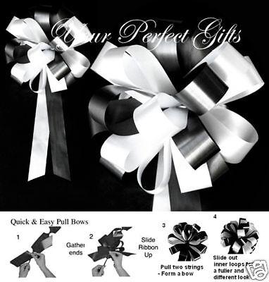 10 Black White Wedding Large Pew Bow Bridal Church Cake