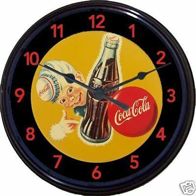 Coca Cola Coke Sprite Boy Soda Pop Ad Wall Clock Soda Fountain Vintage Look 10