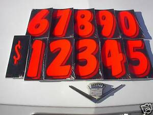 "$ Wholesale CAR DEALER 11 dozen 7.5"" VINYL ADVERTISE STICKER NUMBERS Red/Black"