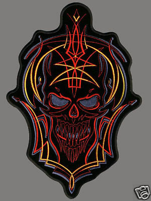 Skull Pin Stripe Embroidered Iron On 6 Inch Biker Patch