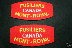 CANADIAN FUSILIERS MONT ROYAL WW2 SHOULDER TITLES
