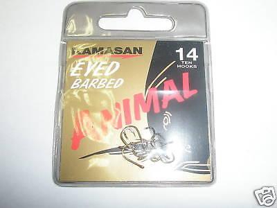 Kamasan 3 X Animal Eyed Barbed Hook Packs Sz14 Fishing