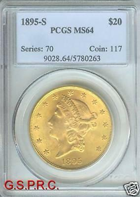 1895 S $20 LIBERTY DOUBLE EAGLE PCGS MS64 MS 64 ONLY FEW HIGHER
