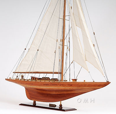 "Shamrock V 1930 America's Cup J Boat Wood Model 39"" Yacht UK Sailboat"
