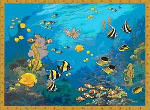 Tropical fish murals aquarium wallpaper mural ebay for Aquarium mural
