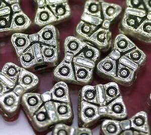 Beads-Perlen-Metallperlen-Tibetperlen-BUTTERFLY-50-St-Schmetterling-Spacer