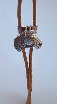 Horse Bolo Bola Tie Brown Braided Cord And Fancy Tips