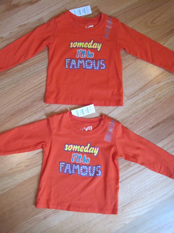 Twin Girls Tcp Someday Famous Orange Long Sleeve Shirts Tops 12m
